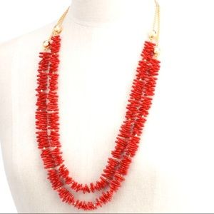 NWT Talbots Double Strand Red Coral Necklace